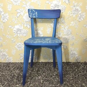 Hand Painted Accent Chair 1950's Blue Colour Ombre Effect Meadow Flowers