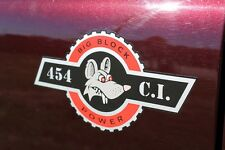 Custom 454 Big Block Power Decal Rod the Rat Hot Rod Sticker Emblem Pair Chevy