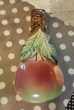 Vintage Japan ceramic spoon rest cherries apples
