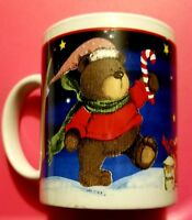 Christmas Bears Coffee Cup Mug Candy Canes Presents Honey