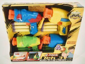 Buzz Bee Toys Tek 3 Air Warriors 4 Pack Dart Guns & Foam Darts