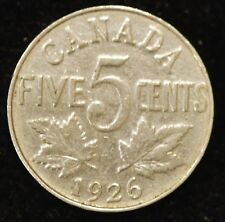 """1926 Far """"6"""" VG- FINE Canadian Five Cents - KEY DATE! (see notes below)"""
