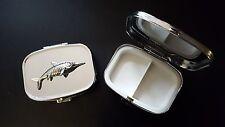Ichthyosaurus PJ/IP English Pewter Emblem on a Rectangular Travel Metal Pill Box