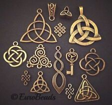 14PC LOT Celtic Knot Bronze_Charm Pendant_Triquetra Irish Trinity Pagan Set_27Z
