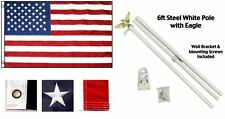 12''x18'' US AMERICAN FLAGS Embroidered Nylon Brass Grommets & 6' POLE KIT
