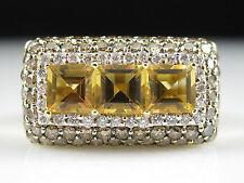 LeVian Citrine Diamond Ring 14K Yellow Gold 3.06cttw Designer Signed Square sz 7