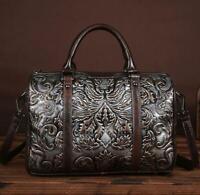 Retro Purse S Handbag Women Cow Leather Backpack Shoulder Messenger Bag Embossed