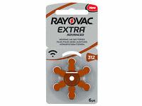 6 x Rayovac 312 Pile Batterie per Apparecchi Acustici Hearing Aid Batteries PR41