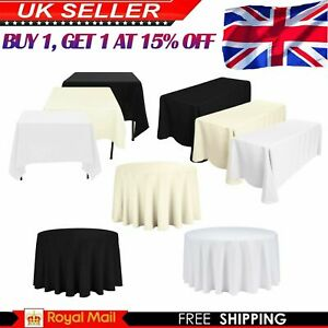 Wedding Polyester Tablecloth Covers Party Dining White Black Ivory Table Cloths