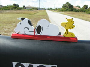 Snoopy and Woodstock Mailbox Topper Handmade new updated version with red collar