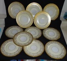 Selb Bavaria Set of 12 Dinner Plates - Intricate Gold w/Ivory & White Background