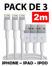 3X PACK LOT CHARGEUR USB CABLE DATA LEAD 2 METERS POUR APPLE iPhone 7 6 PLUS XS