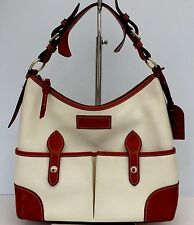 Dooney & Bourke Florentine Ivory Lucy Brown Italian Leather Tan Hobo Large Purse