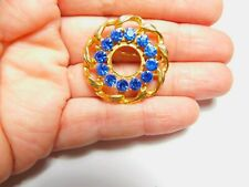 Blue Rhinestone Chain Trimmed Circle Gold Tone Metal Brooch Vintage