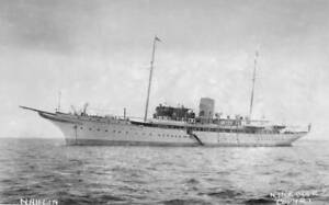 The Luxury Steam Yacht Nahlin At Anchor OLD SHIPPING PHOTO