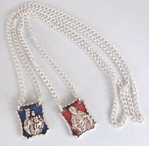 Silver Plated and Enamelled, Italian Scapular of Our Lady of Mount Carmel