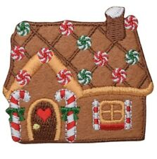 """Christmas Applique Patch - Gingerbread House, Candy Cane, Heart 2.5"""" (Iron on)"""