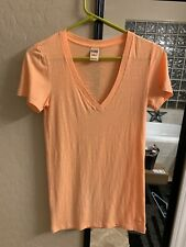 VICTORIAS SECRET Hot Neon Orange Pink Tee Short Sleeve T-Shirt V-NECK XS VS Top