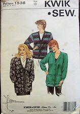 Kwik*Sew sewing pattern no.1538 Ladies Jacket Windcheaters  XS,S,M,L UNCUT