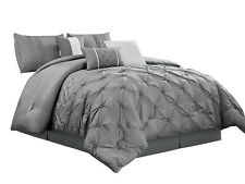 7-P Richi Comforter Set|Ruched Pinched Scroll Floral Lotus Embroidery|Gray|King