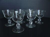 "Set of 6 Vintage Mid Century 4"" Footed 1960's Port Wine Liquor Glass"