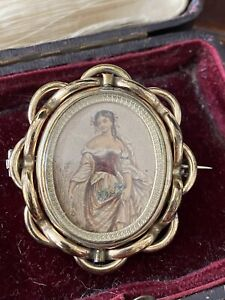 Vintage Victorian / Edwardian Pinchbeck Swivel Mourning Pin Brooch Photo