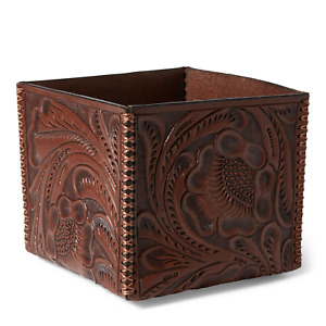 Ralph Lauren RRL Brown Hand Tooled Leather Storage Box New