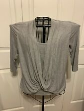 Women's Clothing Gray Cha Cha Vente Blouse Shirt Top Shrug With A Twist Size PM