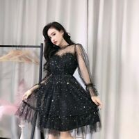 Fashion women Star sequins gauze flare sleeve high waistline Princess dress