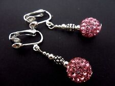 A PAIR OF DANGLY PINK SHAMBALLA STYLE   CLIP ON   EARRINGS.