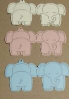 "Baby girl/boy stamped ""Thank you"" elephant note gift tag's. Pk of- 20,30,40,50"