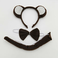 Monkey Animal Headband Hair Band Ear Tail Bow Tie Costume Fancy Dress Party Set