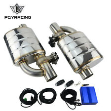 """304SS 3"""" Outlet 76MM Inlet Exhaust Muffler Weld Electrical Valve Control Kit"""