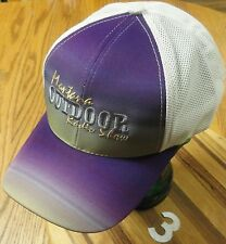 NEW MONTANA OUTDOOR RADIO SHOW  EMBROIDERED LETTERING PURPLE/BLUE/BEIGE