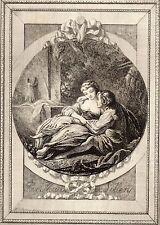 EAU FORTE / Fables de la Fontaine 1883 / TIRCIS ET AMARANTE