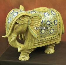 11'' Green Marble Elephant Lapis Floral Figurine Handmade Trunk Down Decor H3771