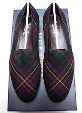 NEW Ralph Lauren Purple Label Collis Wool Tartan Slipper Loafer Shoes Italy 10