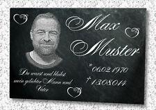 GRABSTEIN Grabplatte Schieferplatte mit Ihrem Foto -- St3-- 22x16cm