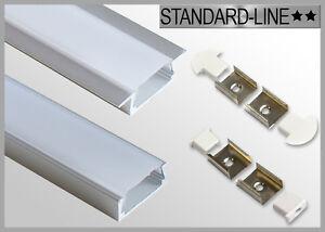 3,99 €/m LED Strip Alu Profil 1 & 2m Aufbau Leiste Einbau Schiene flach eloxiert