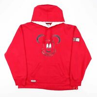 DISNEY Mickey Mouse Red Cartoon Round Neck Hoodie Mens L