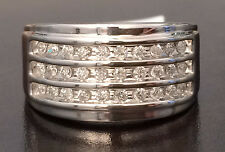 3 Rows 11mm Wide MENS DIAMONDS WEDDING BAND White GOLD Anniversary Ring Round