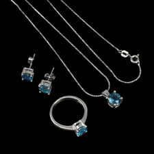 Round London Blue Topaz 6mm 14K White Gold Plate 925 Sterling Silver Sets