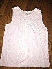New York And Company Shirt Embroidered Collar Sleeveless Dress Blouse SZ XL
