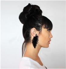 1 Pair Black Monstera Leaf Acrylic Plastic Big Pendant Earrings