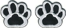 """Lot of Two 1"""" wide Black White Dog Animal Paw Print Embroidery Patch"""