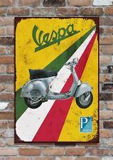 """VESPA, Piaggio Service Sign,  10x8"""" Retro Vintage Metal Advertising Plaque"""