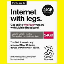 Three 24GB Mobile Broadband 3G/4G Data SIM Card Dongle/Modem/MiFi/Tablet/iPad UK