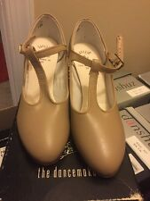 "Capezio 700 T Strap Character Ballroom Dance shoes size 7M  2"" Heel leather TAN"