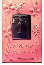 Highly Embossed Pink-Gray-1907 Happy New Year Holiday Postcard-Leap Year Message