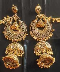Indian Traditional Bollywood Golden Oxidized Long Jhumka Jhumki Earrings